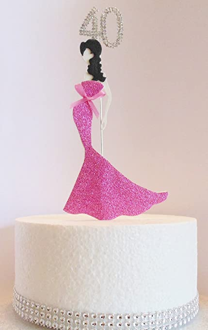 40th Birthday Cake Topper Glamorous Lady In A Pink Dress And Diamante Number Non Edible