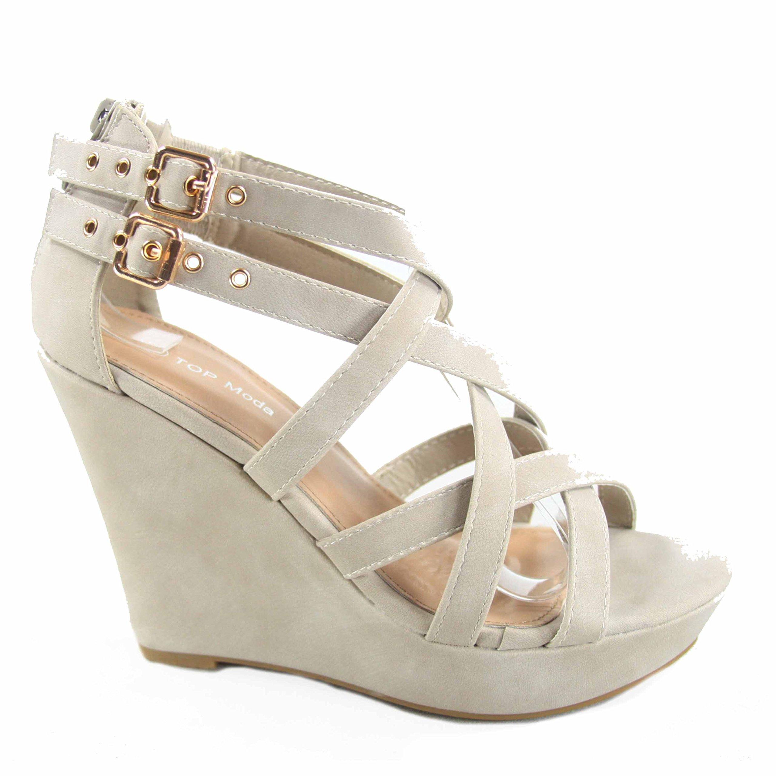 Top Moda Jessie-1 Women's Fashion Strappy Double Buckles High Wedge Heel Sandal Shoes (9 B(M) US, Beige)