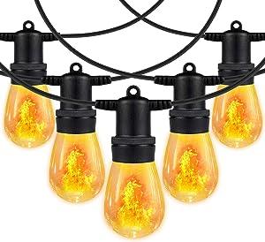 iMartine Decorative String Light Outdoor Waterproof LED with Flicker Flame Lights, 48FT Orange Patio String Lights with 15 Shatterproof Bulbs/Fire Effect, Decor for Backyard Cafe Bistro Porch Outside