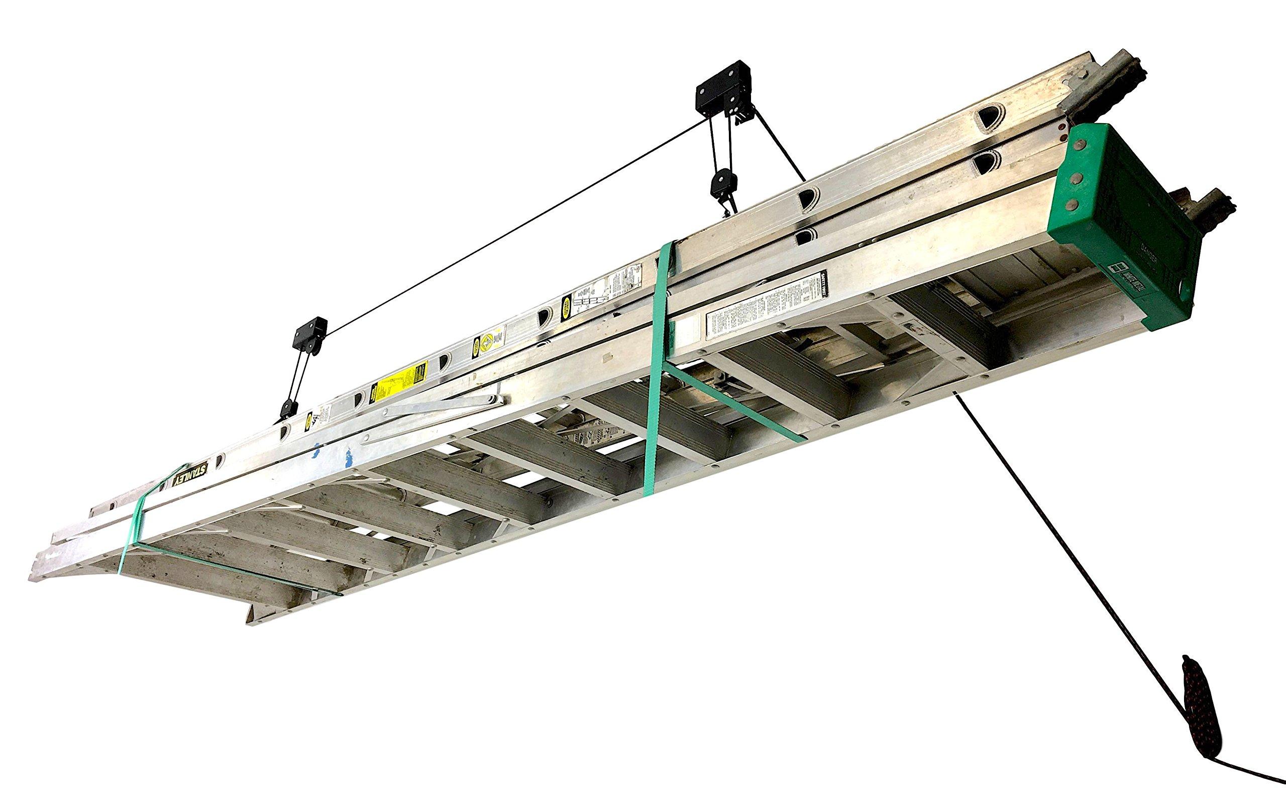 StoreYourBoard Ladder Ceiling Storage Hoist, Hi Lift Home & Garage Hanging Pulley Rack