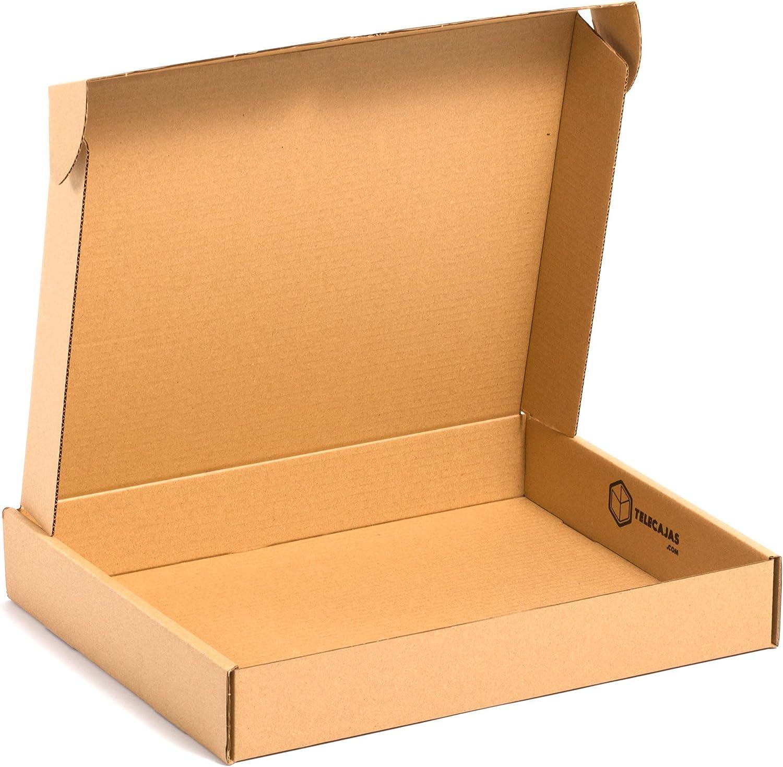 TeleCajas® | (25x) Caja de Cartón Postales Kraft | Cajas Automontables con Tapa para Almacenaje | Medidas: 45x35x07 cms ~ Portátil | Lote de 25 uds: Amazon.es: Oficina y papelería