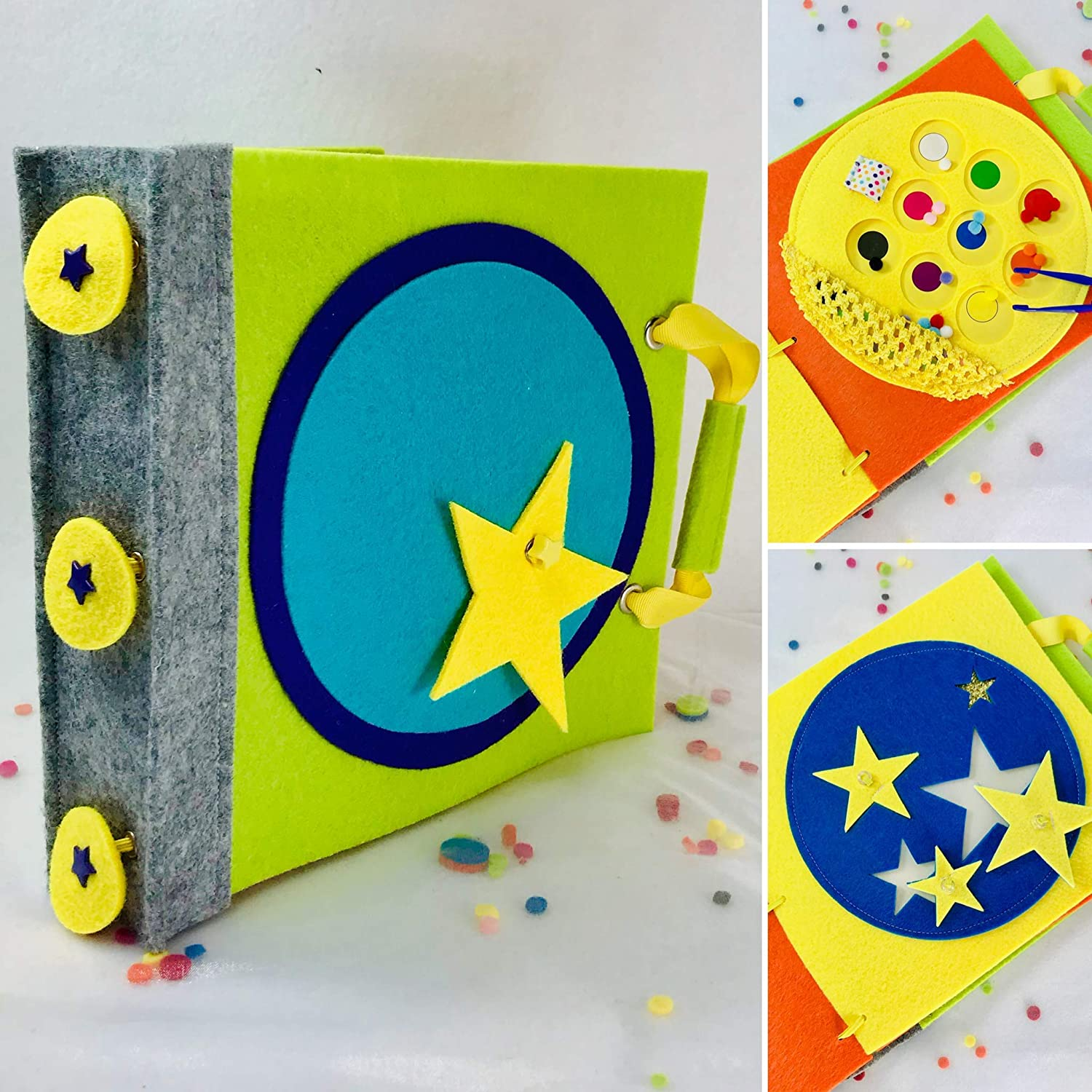 Felt Busy Book Gift Set for 2 Year Old TinyFeats Handmade Quiet Book for Toddler Features Montessori Activities