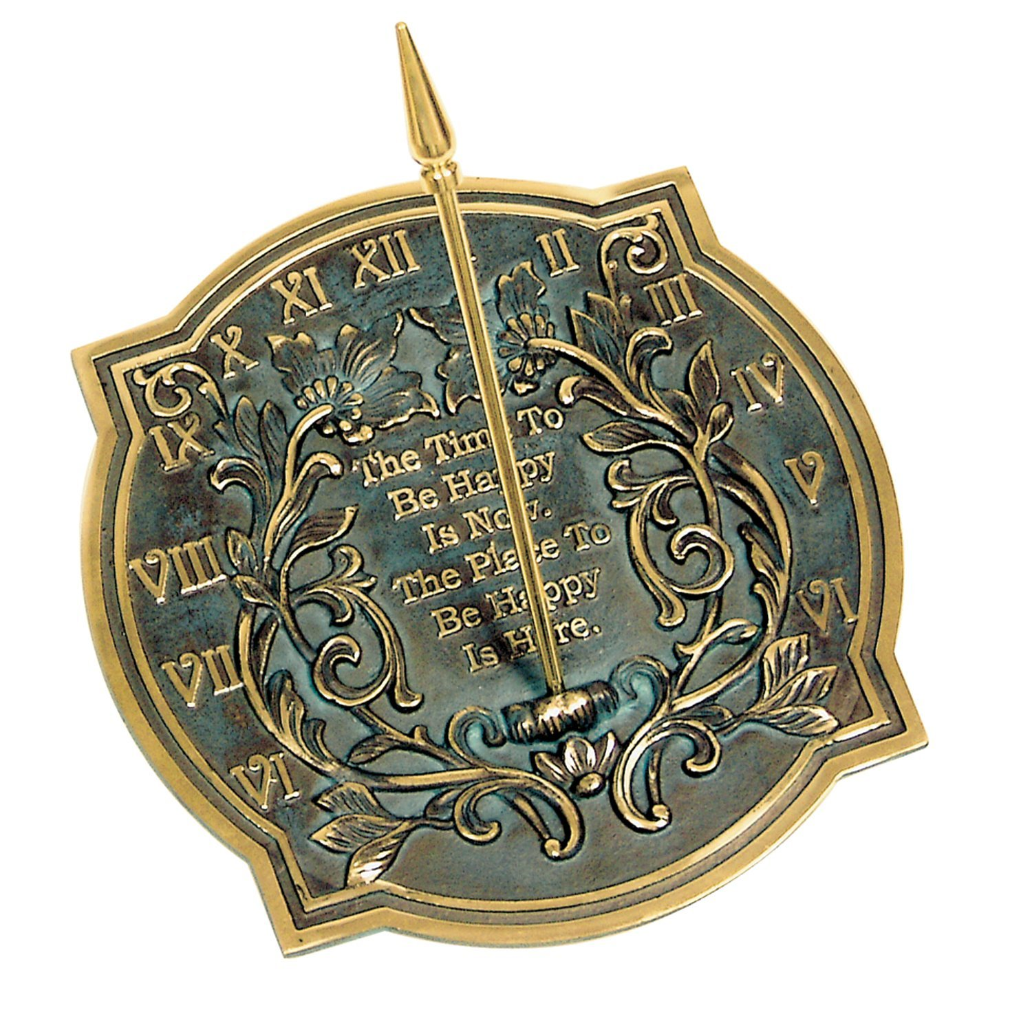 Rome 2303 Happiness Sundial, Solid Brass with Verdigris Highlights, 10-Inch Diameter