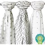 Ziggy Baby Muslin Swaddle Blankets, 47x47 (3 Pack) Chevron, Arrow, Cross, Grey/White