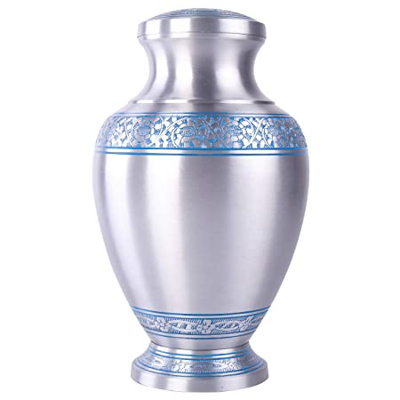 GSM Brands Cremation Urn Holds Adult Human Ashes – Large Handcrafted Funeral Memorial with Elegant Silver Design Aluminum – 12 Inch Height x 7.2 Inch Width