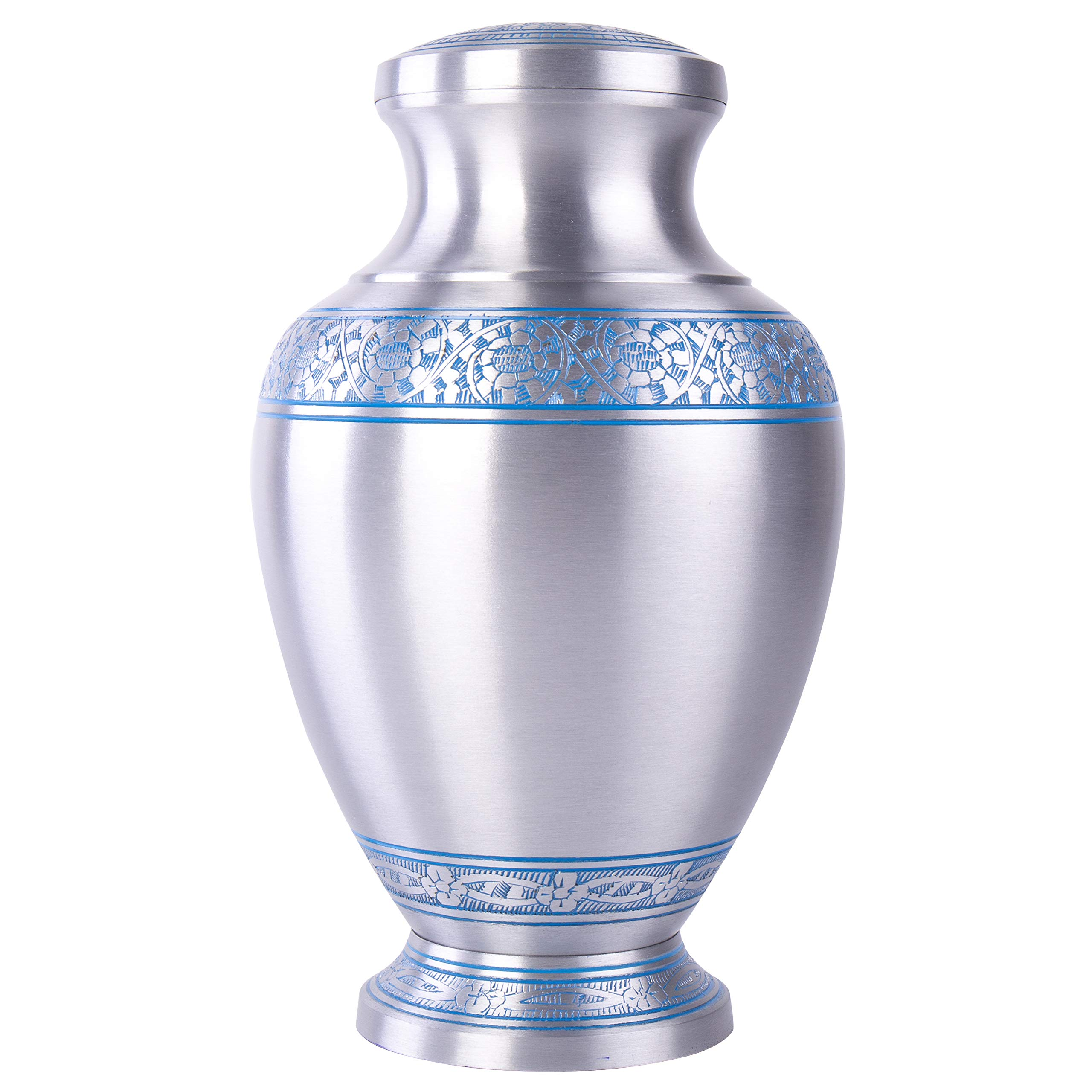 GSM Brands Cremation Urn Holds Adult Human Ashes - Large Handcrafted Funeral Memorial with Elegant Silver Design (Aluminum - 12 Inch Height x 7.2 Inch Width)