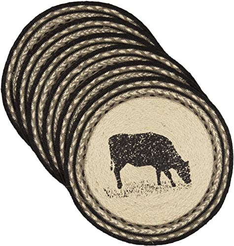 VHC Brands Sawyer Mill Charcoal Table D cor, Tablemat Set, Cow