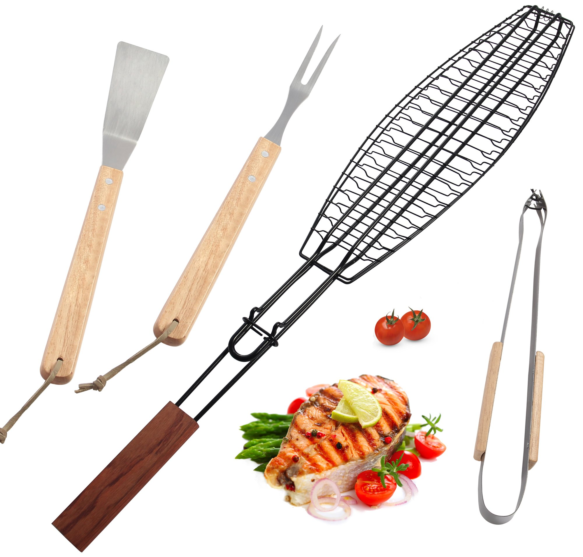 ROMANTICIST Non Stick Extra Large Fish Grill Basket Grilling Any Fish up to 16-4pc Heavy Duty Stainless Steel Grill Accessories Set - Grilling Basket Spatula Fork Tongs - Grill Gift Men