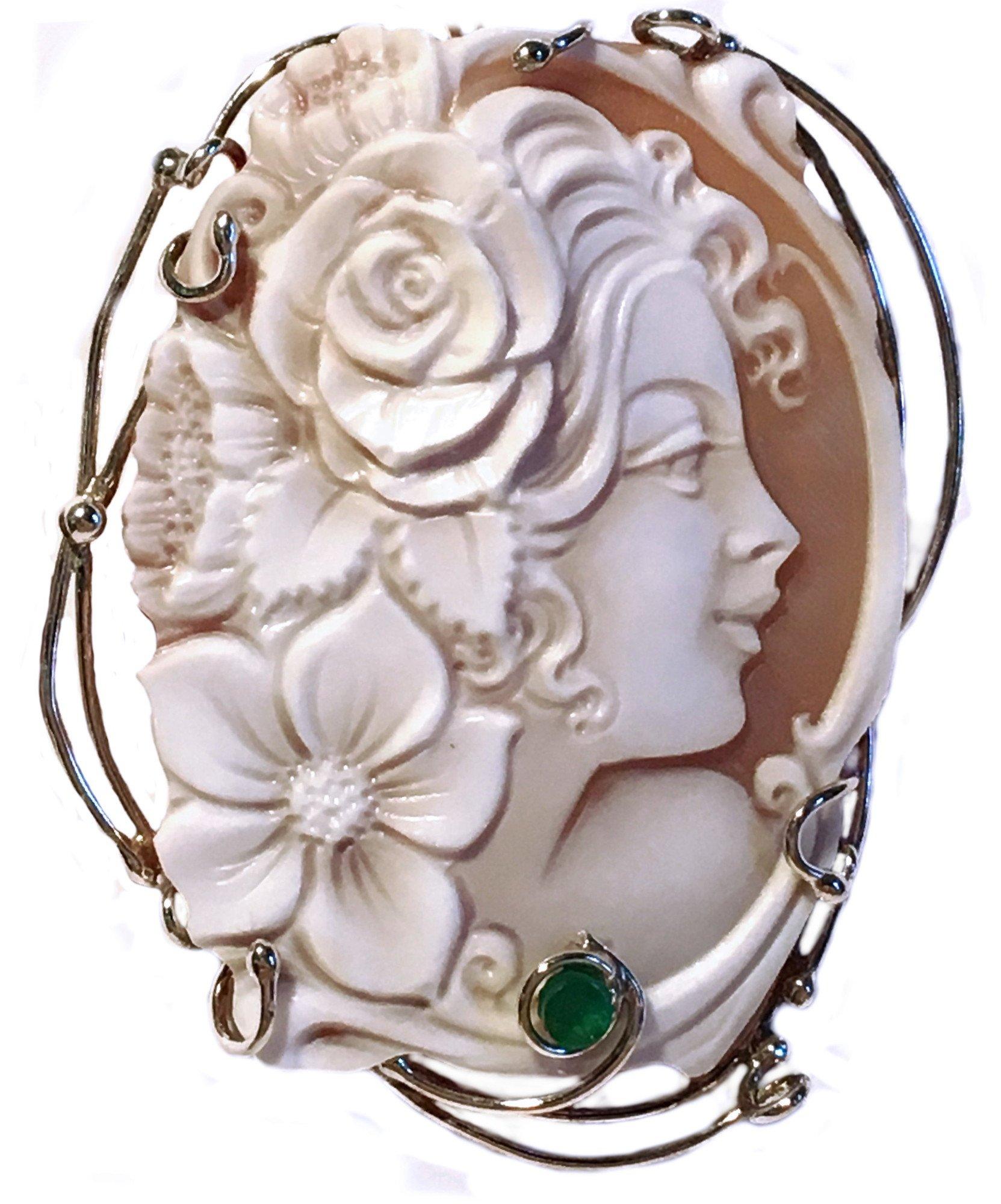 Cameo Pendant Summer Dream, Sterling Silver, Master Carved, Italian Sardonyx Shell, Natural Emerald
