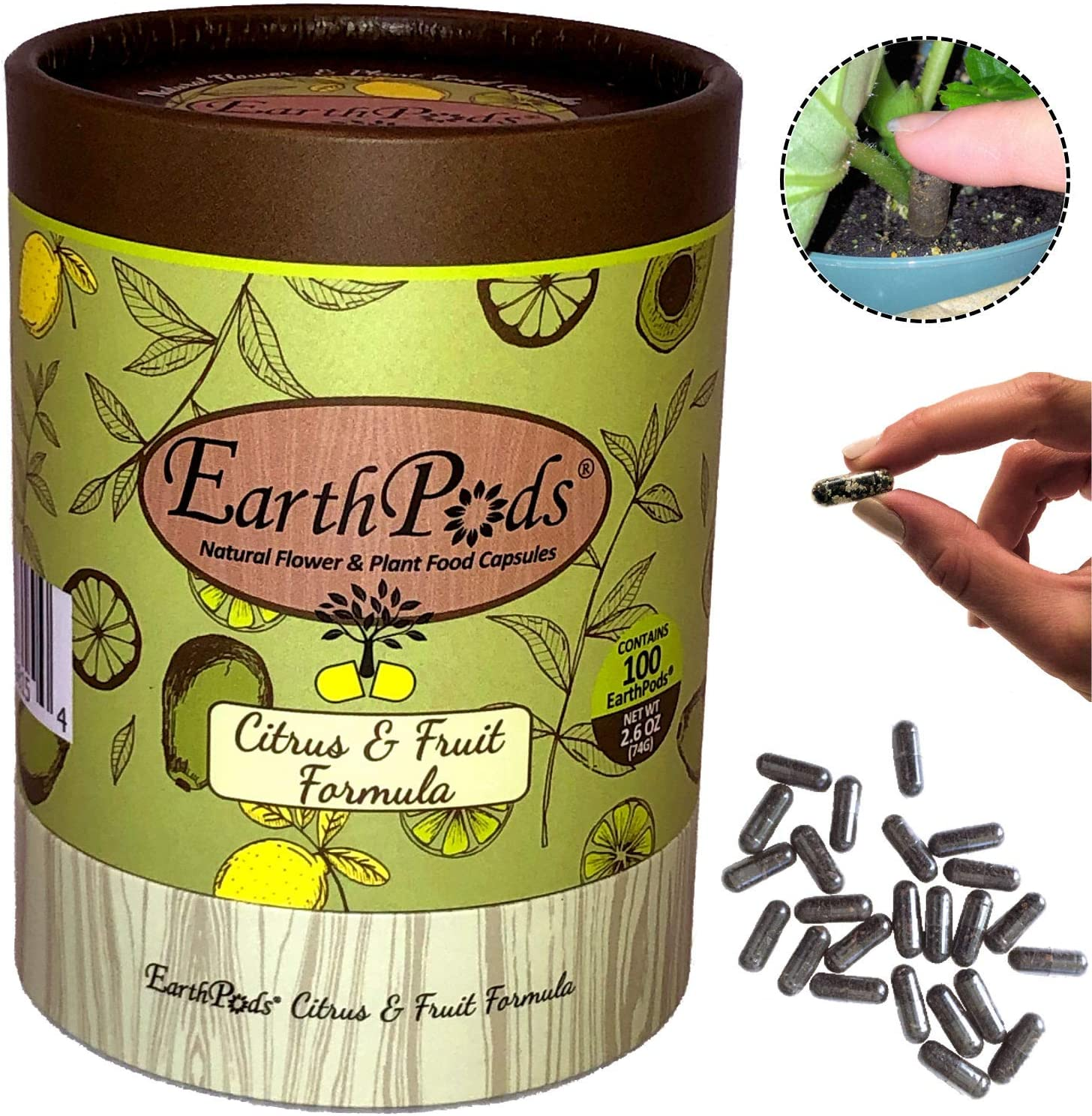 EarthPods Premium Fruit & Citrus Plant Food – Easy Organic Fertilizer Spikes – 100 Capsules – Boost Bloom, Fruit Flavor, Root Growth (Great for Dwarf Meyer Lemon, Lime, Orange, Avocado, Banana Trees)