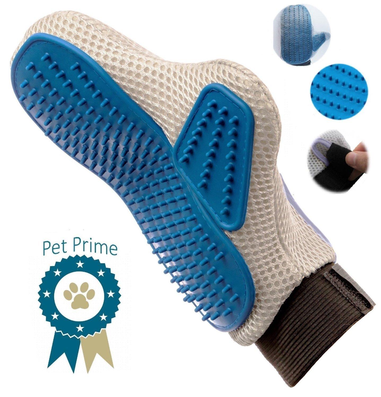 Pet Prime Dog & Cat Grooming Glove Brush – Deshedding & Massaging Tool For Long & Short Hair Pets