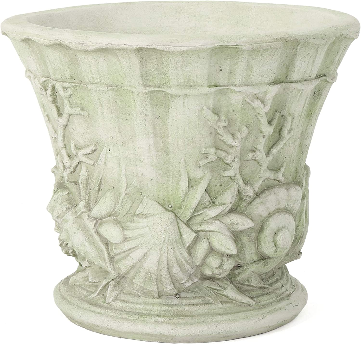 "Christopher Knight Home Guava Outdoor 15"" Cast Stone Urn, White Moss"