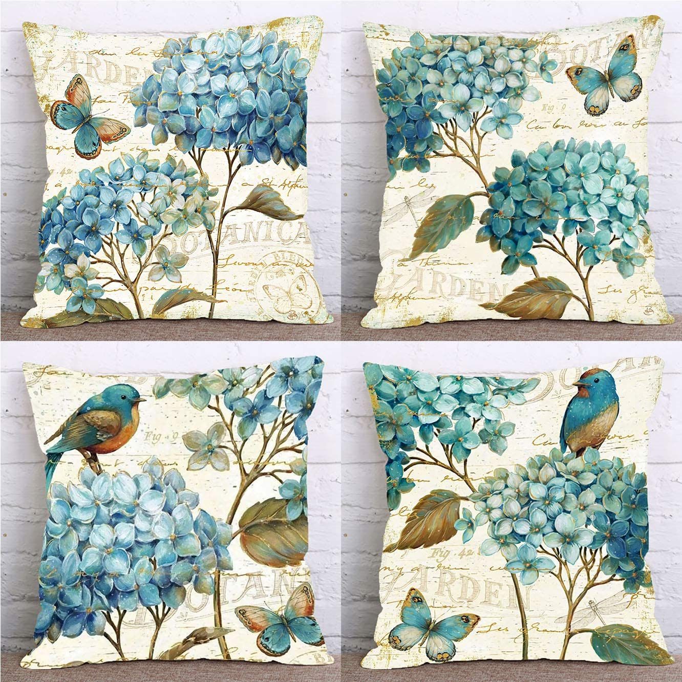 LuckyCow Set of 4 Farmhouse Decorative Throw Pillow Covers Vintage Orchid Theme Butterfly Bird Pillows Cover Holiday Decor Home Car Bedding Cushion Cover Cotton Linen 18x18 Inch