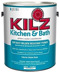 KILZ Kitchen & Bath Interior Latex Primer/Sealer/Stain Blocker with Mildew-Resistant Finish, White, 1 gallon