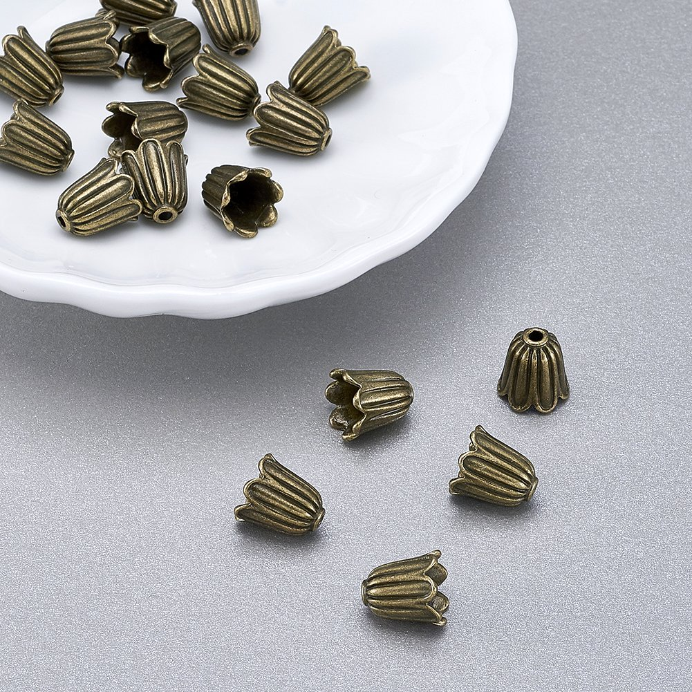 Pandahall 20pcs Tibetan Style Alloy Flower Bead Caps Large Beads Spacers Jewelry Makings 10x10mm Cadmium Free /& Lead Free /& Nickel Free Antique Golden