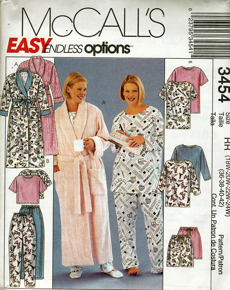 McCall's Easy Endless Options Sewing Pattern 3454 Robe and Pajamas Size RR (18W-24W) Vintage Pattern by McCall's B00EDMKSTE