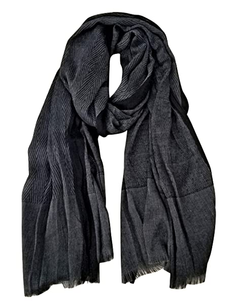 f84e53fa5 GERINLY Men Scarves Twill Cotton-Linen Long Winter Scarf (Black) at Amazon  Men's Clothing store: