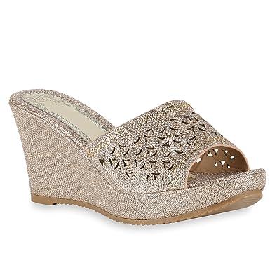 Stiefelparadies Damen Sandaletten Wedges Pantoletten Strass Lack Schnallen  Wedges Keilabsatz Korkoptik Schuhe 143750 Rose Gold Glanz 2e4cd55735