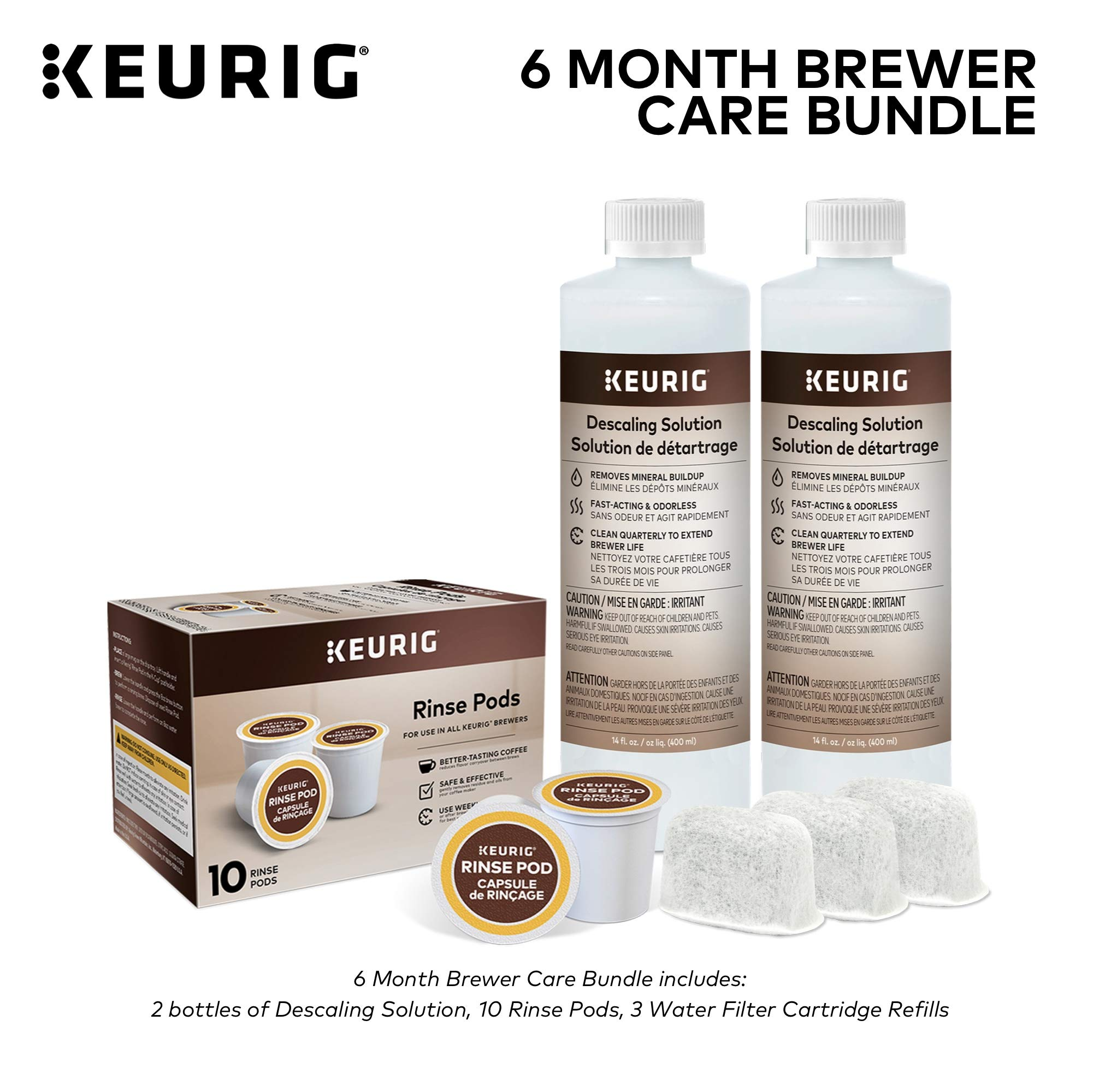 Keurig 6-Month Brewer Maintenance Kit, Includes Descaling Solution, Water Filter Cartridges & Rinse Pods, Compatible with Keurig Classic/1.0 & 2.0 K-Cup Pod Coffee Makers, 14 count by Keurig