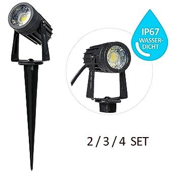 Profi 3 W Gartenlampen 2er Set Strom, Gartenlampe Erdspieß Metall (kein  Plastik), LED Gartenleuchten warmweiß (2800K) Gartenleuchte IP 67 * LED  mini