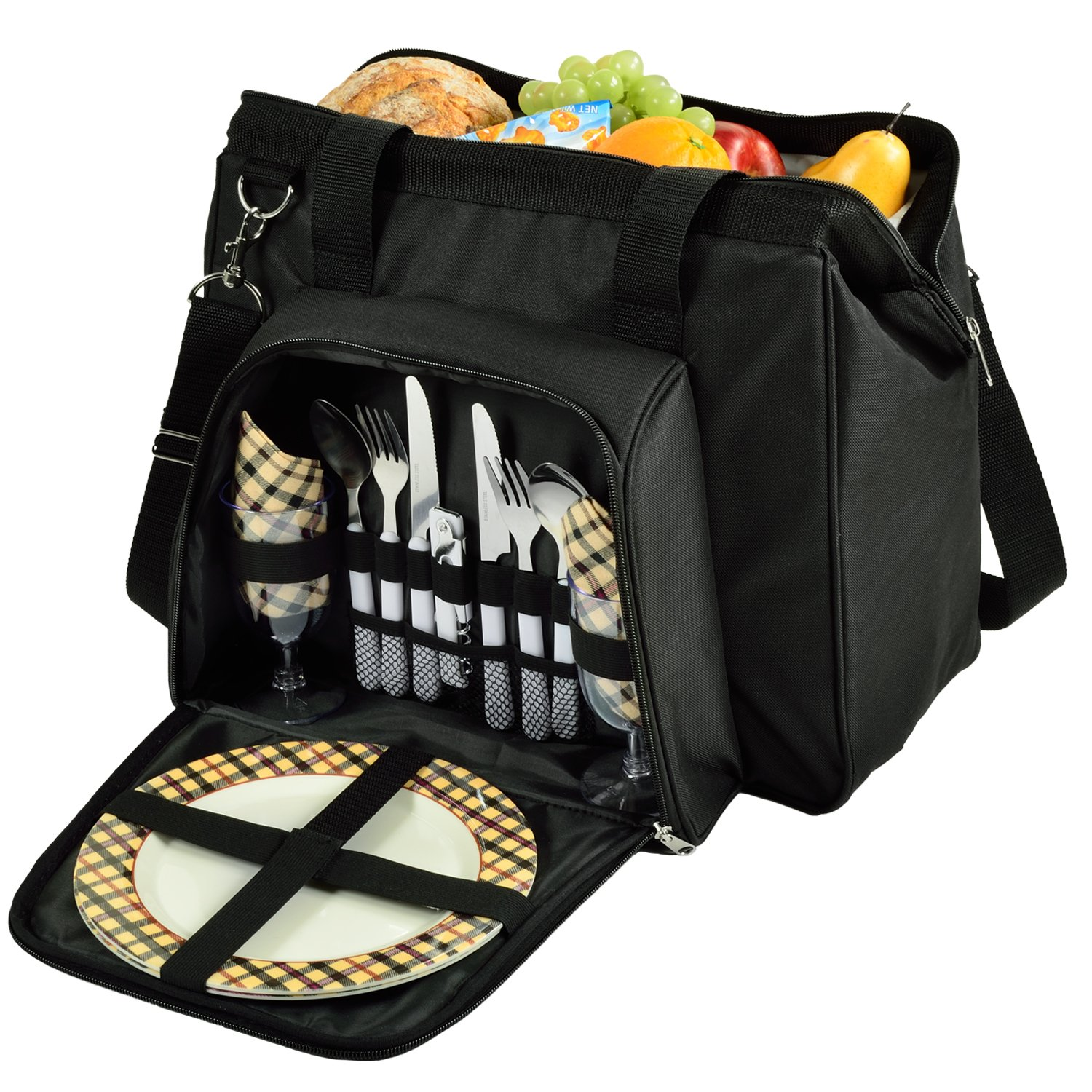 Picnic at Ascot City Picnic Basket Insulated Cooler Equipped for 2 with Contemporary Shape Wide Opening, Black London