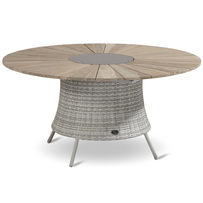 Hartman Provence Tisch rund 150 cm Graniteinleger Teak wicker royal grey flat