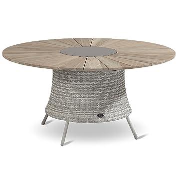 Amazon.de: Hartman Provence Tisch rund 150 cm Graniteinleger Teak ...