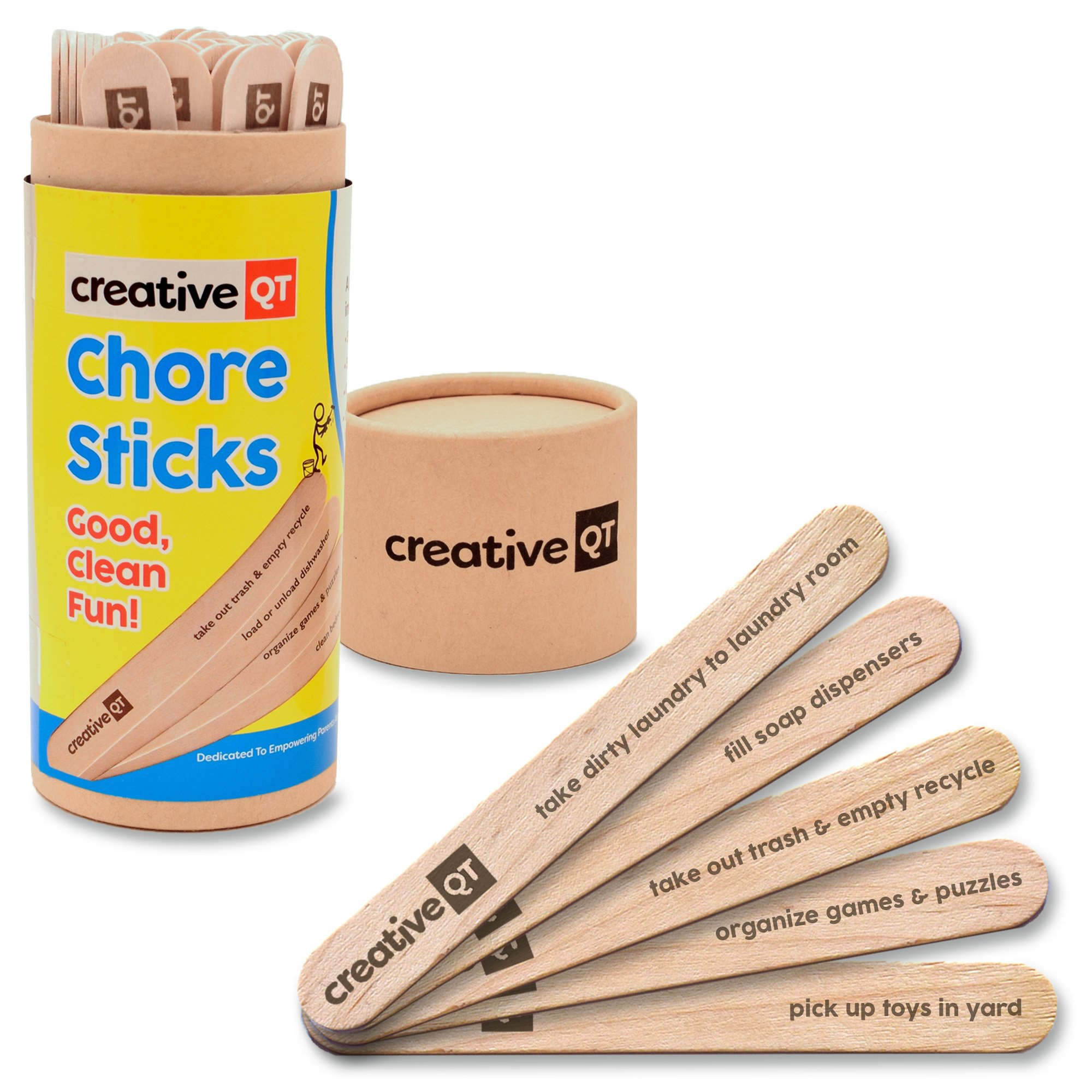 Creative QT Chore Sticks - Make It A Game For Your Kids To Help Out Around The House – A Fun Alternative To a Chore Chart That Will Keep Them Coming Back For More – Good, Clean Fun