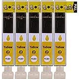 5 Druckerpatronen im Set; kompatibel zu CLI-526Y Yellow mit CHIP und Füllstandanzeige; Patronen der Marke D&C; diese Tintenpatronen sind geeignet für folgende Canon Drucker Pixma IP4850 IP4950 IX6550 MG5100 MG5150 MG5200 MG5250 MG5300 MG5350 MG6100 MG6150 MG6200 MG6250 MG8100 MG8150 MG8200 MG8250 MX885 MX715 MX895