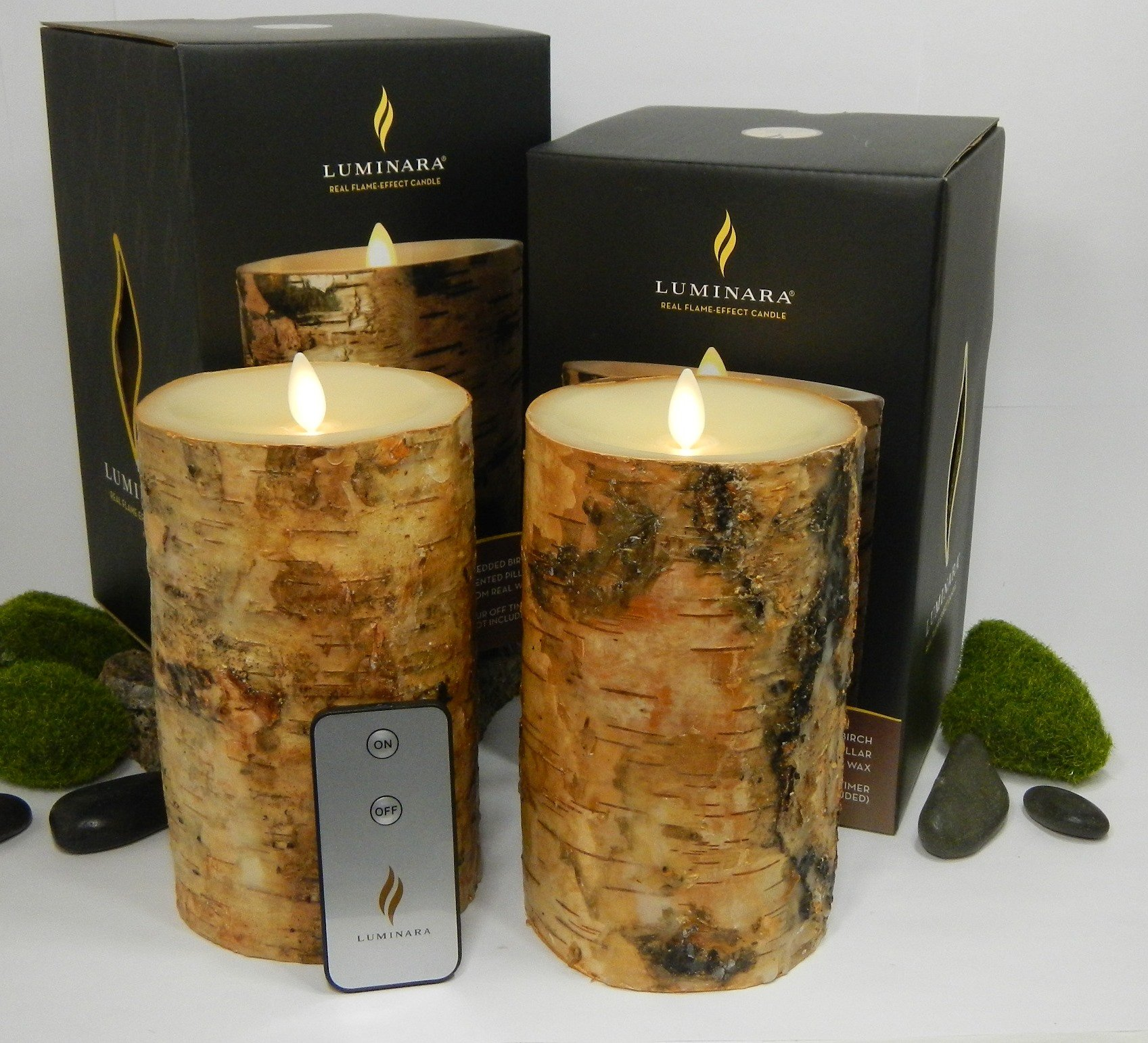 Luminara BIRCH BARK Flameless Candle 7'' Inch Pillars: 2PC SET w/ REMOTE CONTROL - 4'' x 7'', Ivory Wax, Battery Operated, Timer | REAL BIRCH WOOD - NOT PAINT | Home, Bed & Bath, Natural, Wedding, Gift by Luminara