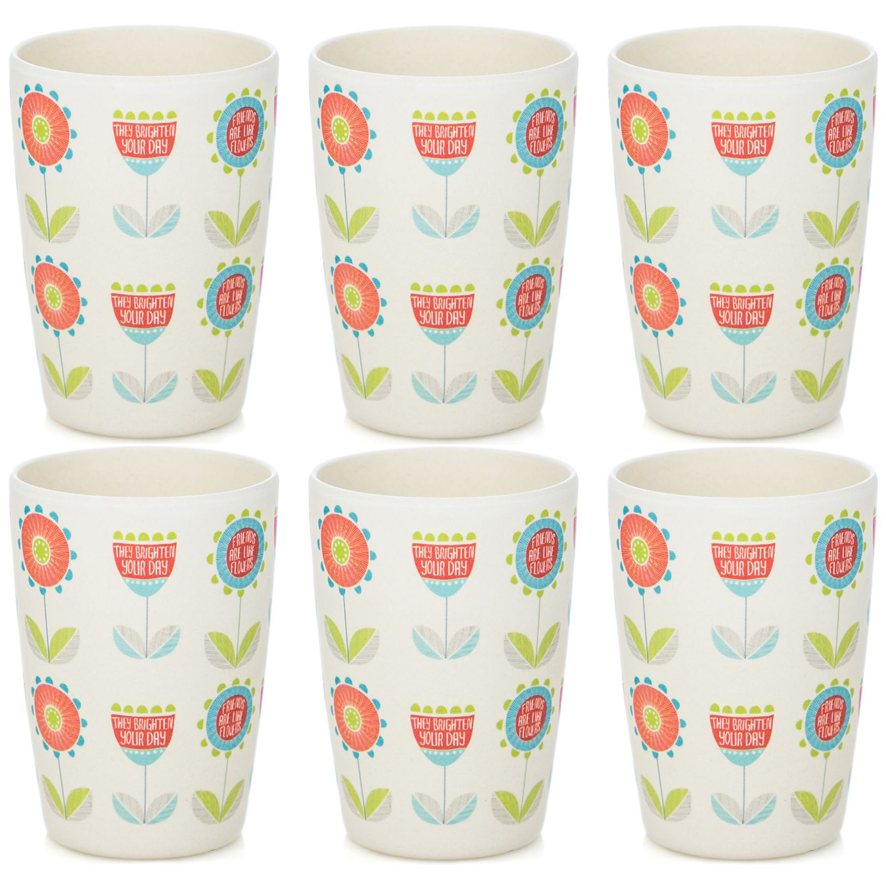 Tiny Dining Children's Bamboo Fibre Juice Cup - Flower - Pack of 6 by Tiny Dining