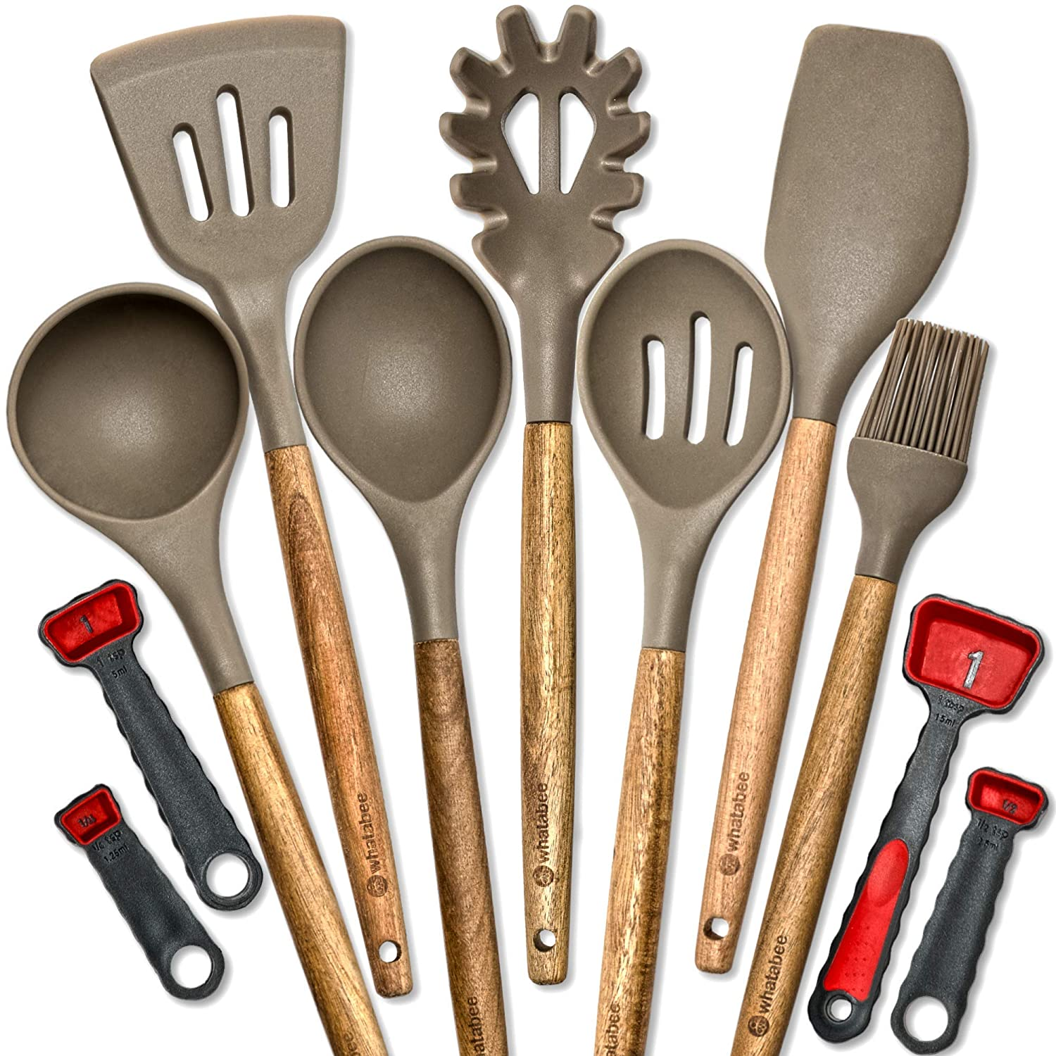 Silicone Kitchen Utensils set - 11 piece Camping Cooking Tools set, Grey - Heat Resistant Spatula & Spoon items for Nonstick Cookware plus Plastic Measuring Spoons - Acacia Hard Wood handles Whatabee UtW11