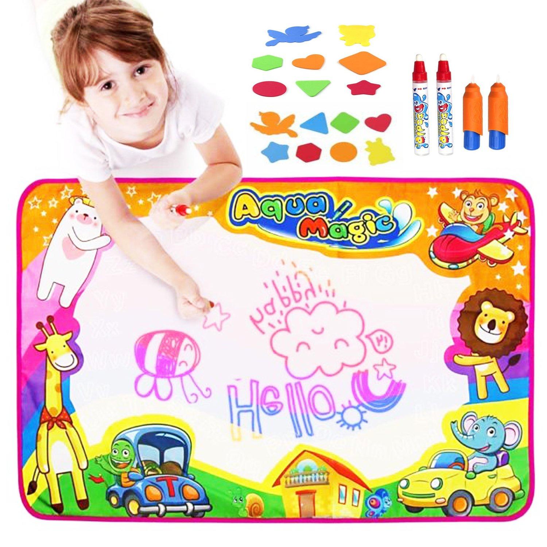 Fstop Labs [UPGRADED] Large Kids Water Painting Doodle Mat Pad, Kids Toys Aqua Mat, Magic Water Drawing Mat Toddler Writing Mat with 2 Magic Pens 2 Brush and 16 Stencils Kids Educational Toys