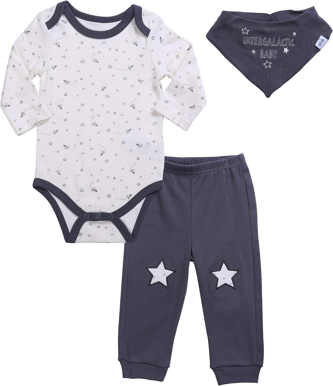 Baby Boy's Bodysuit & Pant Set Short Sleeve T Shirt Bandana Bib Outfit