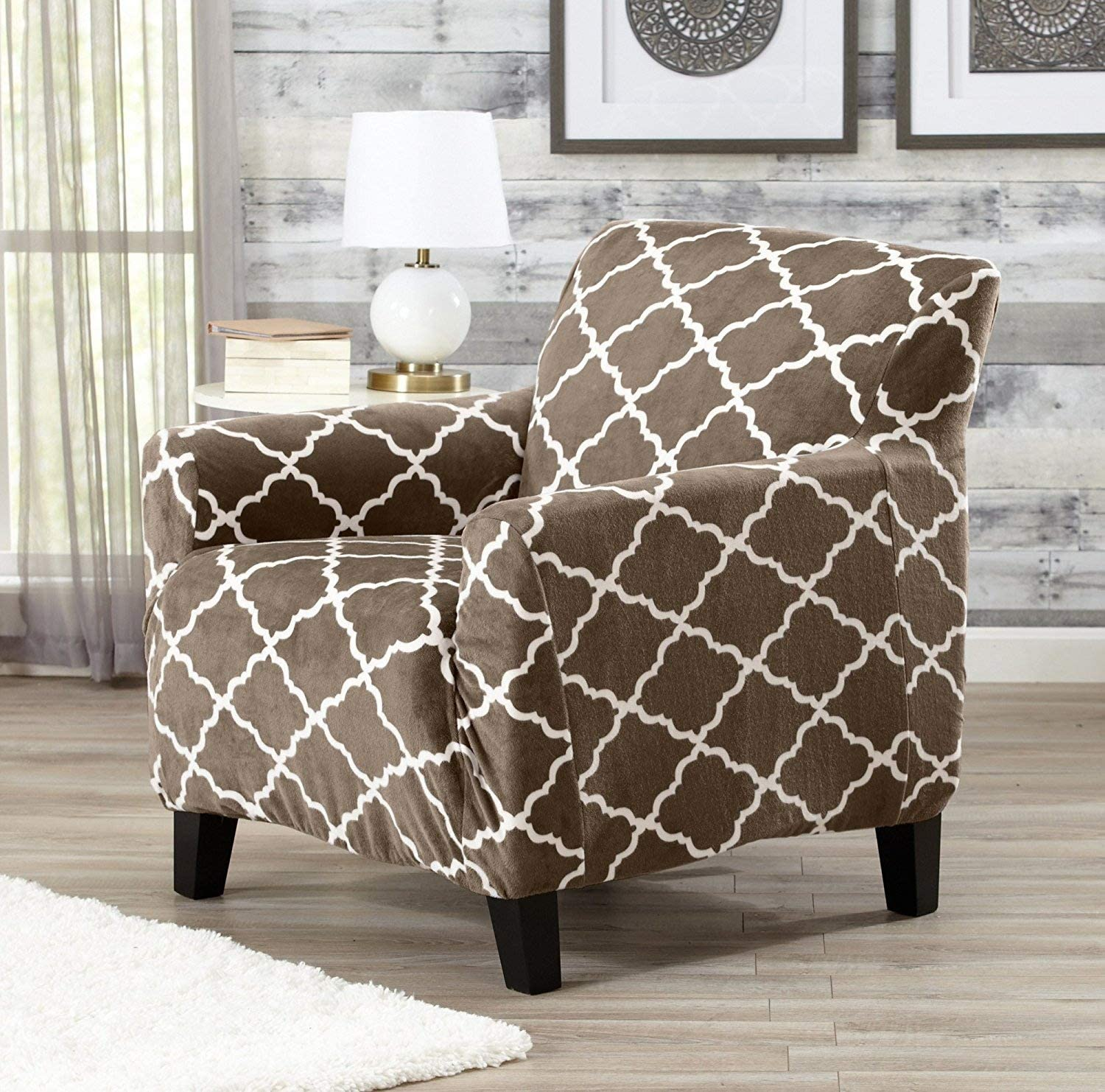 Great Bay Home Modern Velvet Plush Arm Chair Slipcover. Strapless One Piece Stretch Chair Cover. Arm Chair Cover for Living Room. Magnolia Collection Slipcover. (Chair, Walnut Brown)