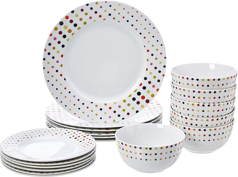 AmazonBasics 18-Piece Kitchen Dinnerware Set, Plates, Dishes, Bowls, Service for 6, Dots