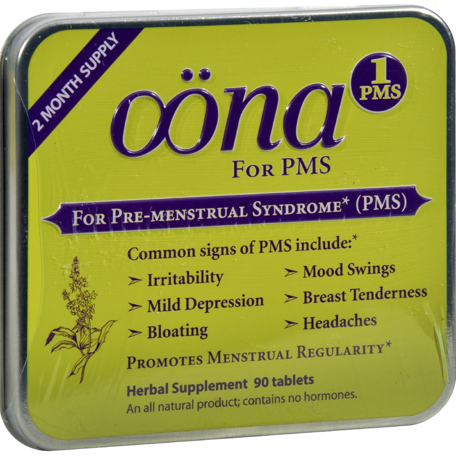 2Pack! Oona PMS1 - Case of 5 - 90 Tablets