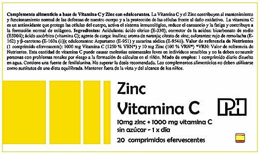 ZINC + VITAMINA C PH 20 comprimidos efervescentes, suplemento para las defensas, oxidación y formación colágeno: Amazon.es: Salud y cuidado personal