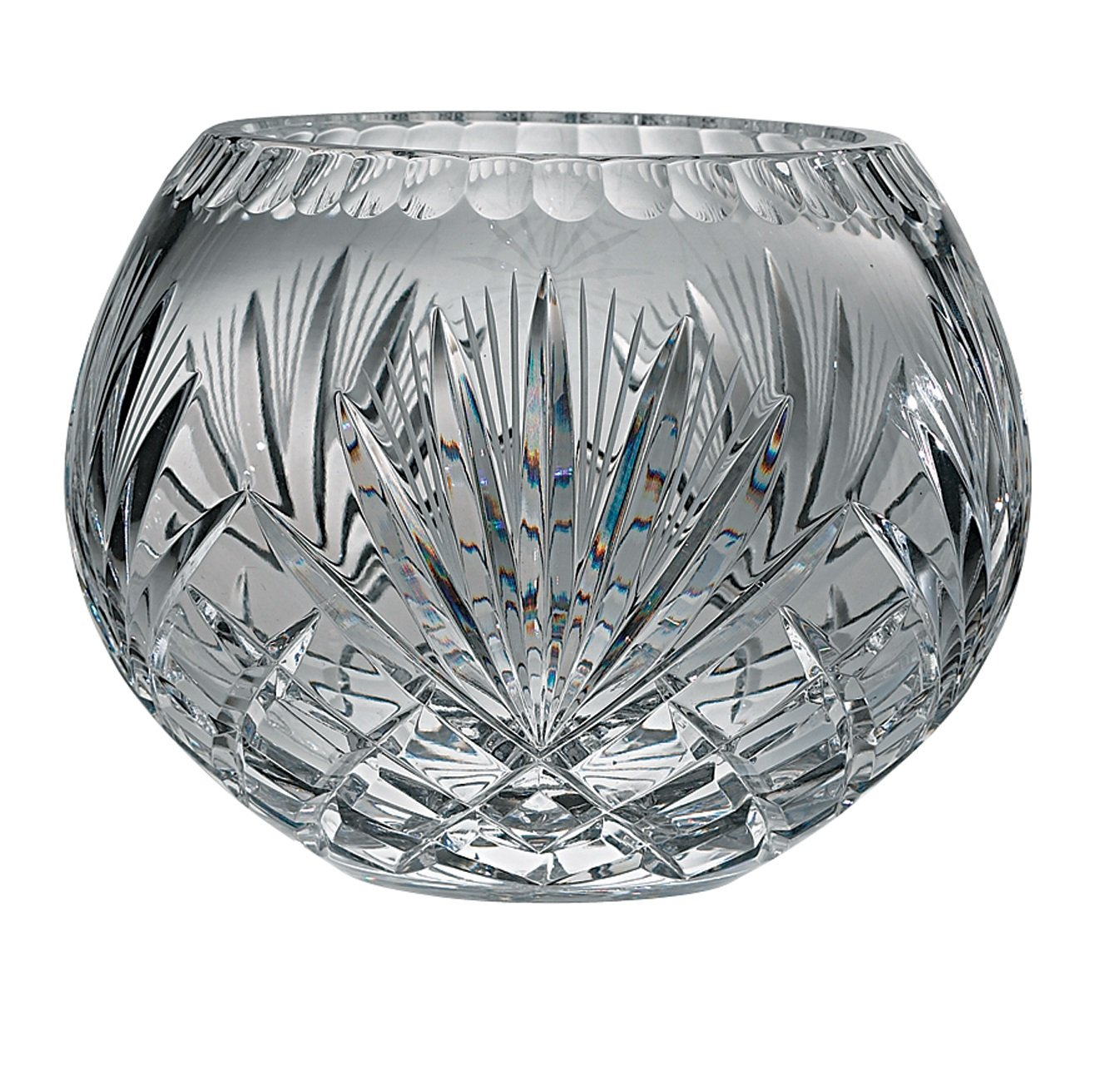 Majestic Gifts Hand Cut Crystal Bowl, 12-Inch, Rose
