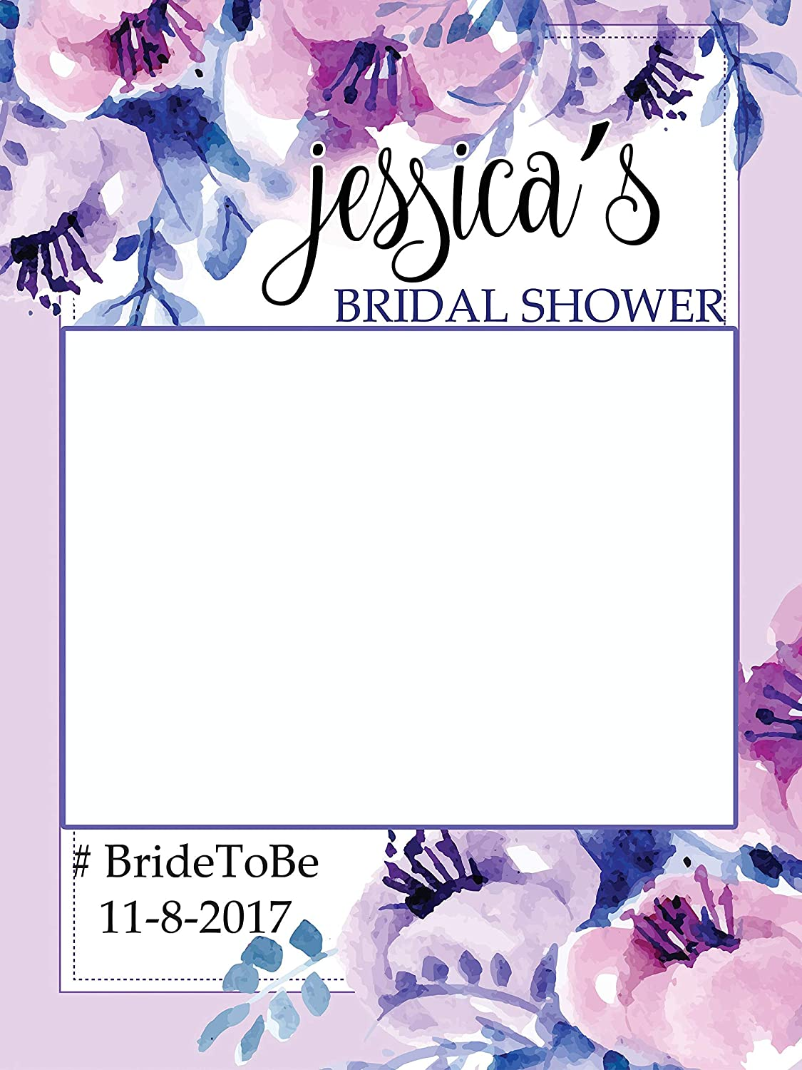 Flower Bridal Shower Photo Booth Frame, Lavender Sizes 36x24, 48x36