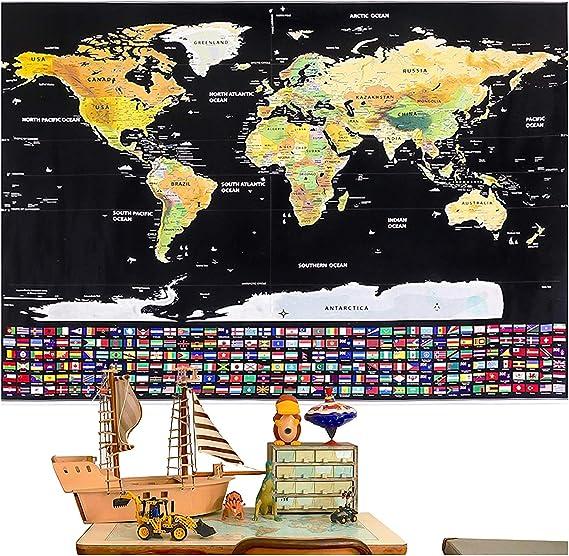 Mapa del Mundo para Rascar Mapa con las banderillas para Marcar Tus Aventuras Un Gran Regalo para Anotar las Memorias del Viaje 87x54CM 1 Plectro y 1 Bolsa Transparente Rabbitgoo: Amazon.es: Hogar