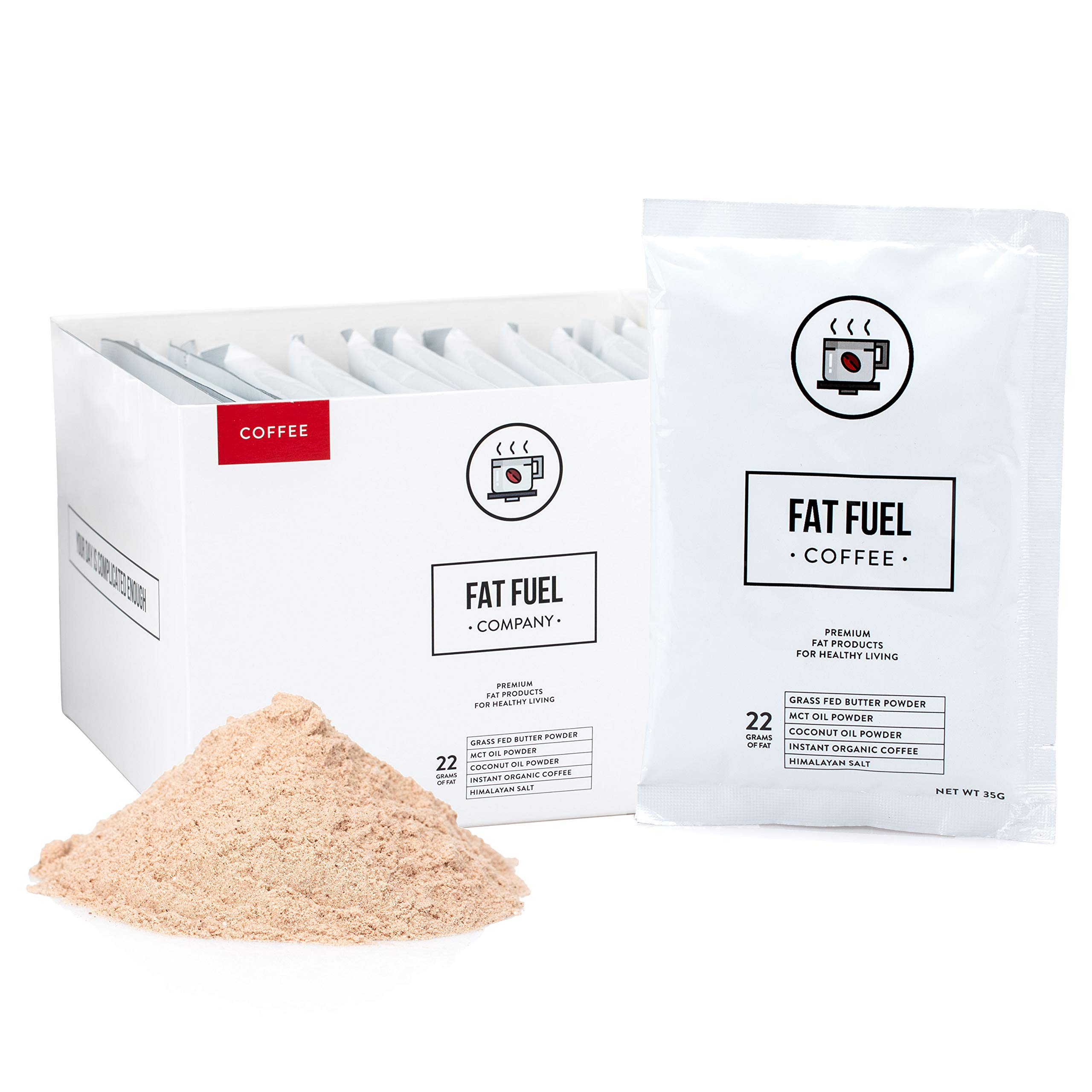 Instant Coffee Packets for Ketogenic, Paleo, and Low-Carb Diets, Weight Loss Coffee with Grass-Fed Butter, MCT Oil, Coconut Oil Powders - Fat Fuel Company