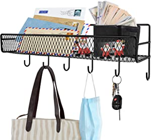 HangerSpace Adhesive Wall Mount Mail Sorter Metal Mesh Storage Basket Shelf with 6 Key Hooks - Letter, Coat, Leash and Key Holder Organizer for Entryway, Door, Kitchen, Bathroom