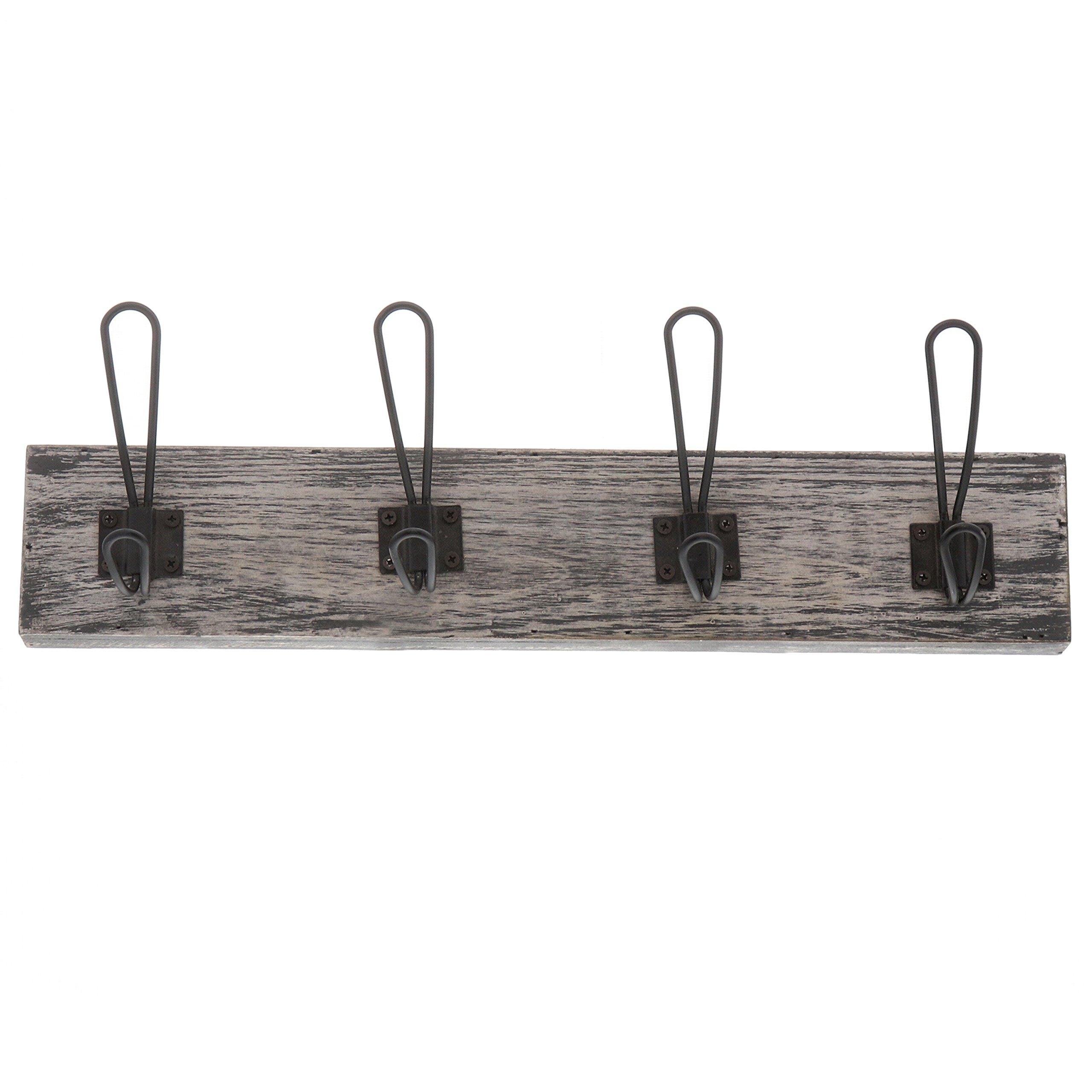 "Barnyard Designs Wall Hook Rack Rustic Decorative Hanging Coat Rack, Hats, Keys, Handbags, Backpacks, and More 19"" x 6"" (4-Hooks)"