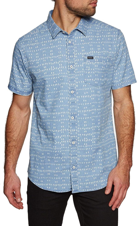 RVCA - Camisa Casual - para Hombre Azul Azul Vaquero L: Amazon.es: Ropa y accesorios