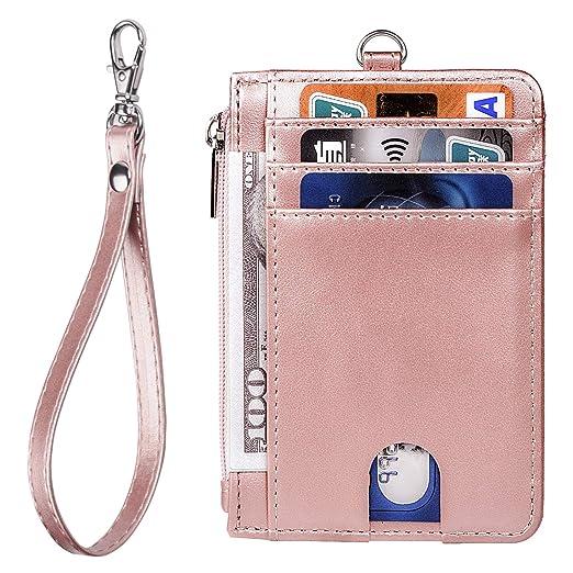 d18d5b87fc80 Teskyer Slim Minimalist Front Pocket RFID Blocking Leather Wallets Credit  Card Holder for Men Women