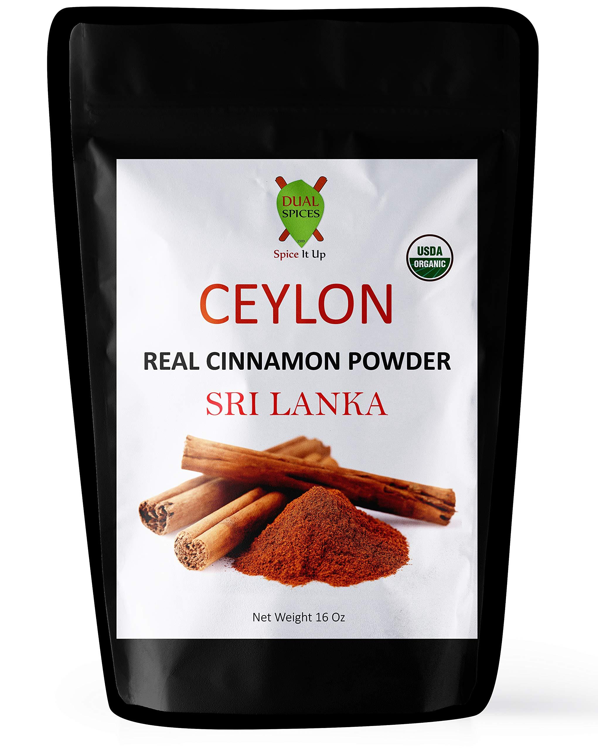 LIMITED TIME SALE - Dualspices Ceylon Cinnamon Powder USDA Certified Organic 1 Pound Bulk, Sri Lanka Real Cinnamon