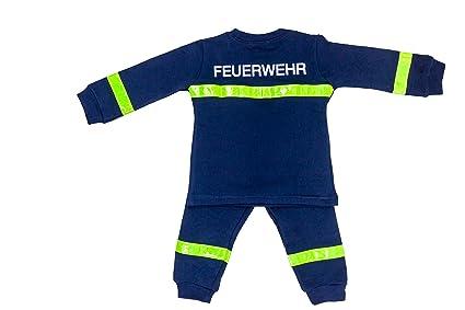 Pijama/Pijama/bombero de bomberos para niños azul Diseño Largo amarillas reflectores 100%