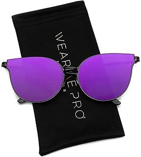 0ac8583c14bd2 WearMe Pro - Elegant Flat Lens Oversized Designer Women Round Cat Eye  Sunglasses