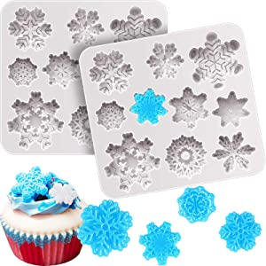 2 Pieces 3D Snowflake Fondant Mold Christmas Snowflake Silicone Mold for Cake Cupcake Decoration Polymer Clay Crafting Projects (Gray)